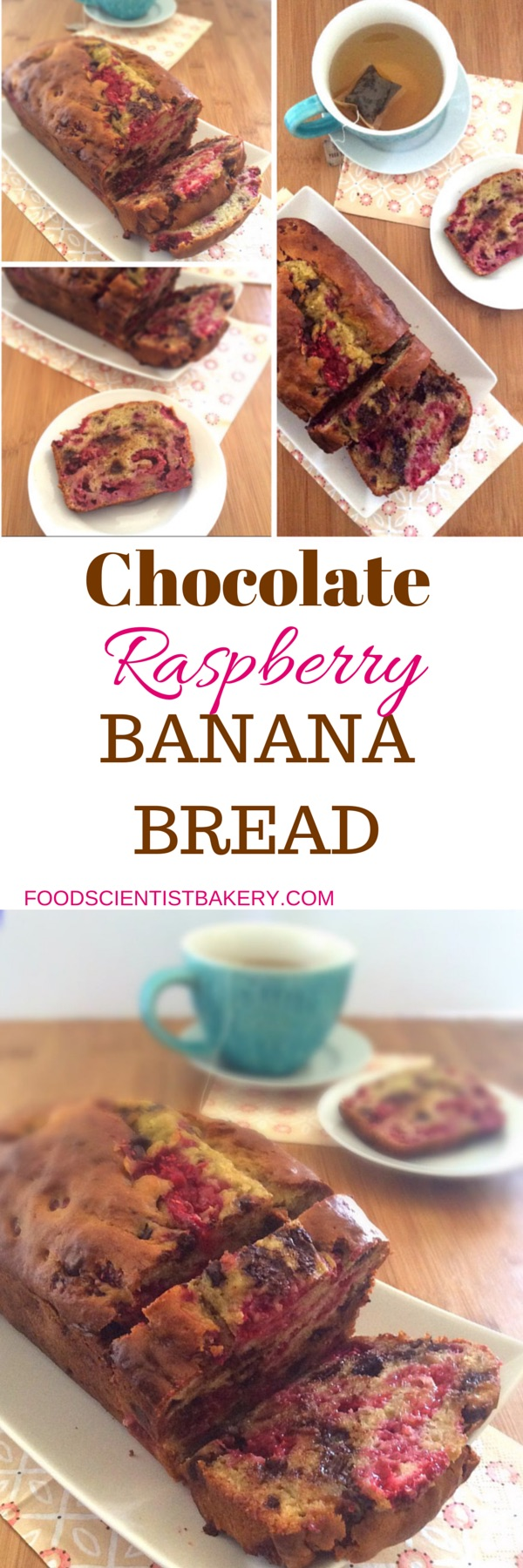 Chocolate Raspberry Banana Bread- a delicious twist on a classic!