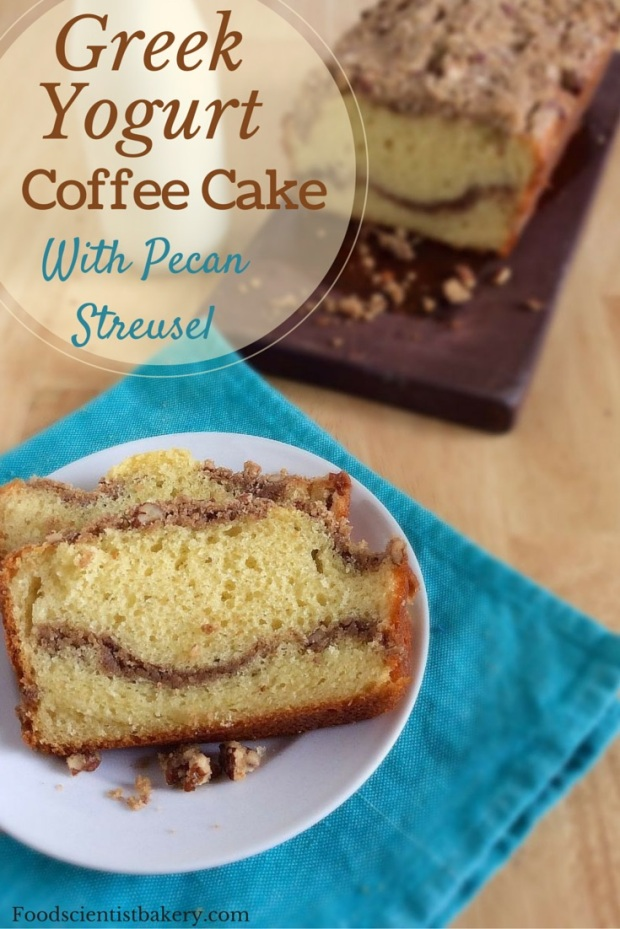 Greek Yogurt Coffee Cake- moist, tender cake with a streusel ripple will make everyone happy!