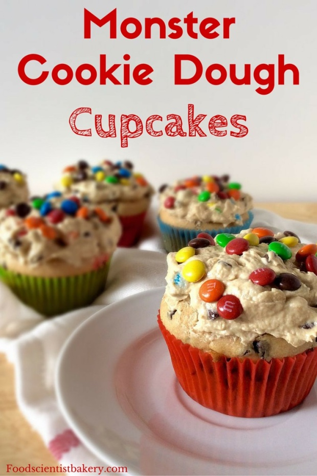 Monster Cookie Dough Cupcakes- M&M's, chocolate chips, oats, peanut butter blend together in these amazing cookie cupcakes!
