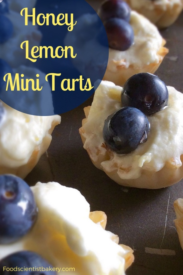 Honey Lemon Mini Tarts- an easy, lemon filling with just 3 ingredients, inside a crunchy shell!