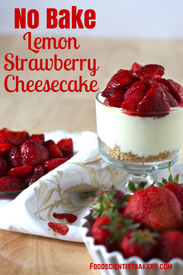 Fresh, tangy cheesecake topped with strawberries- no need to turn on the oven for this summer treat!