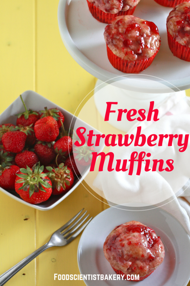 Strawberry muffins- loaded with fresh berries and topped with a berry glaze, these muffins are packed with flavor!
