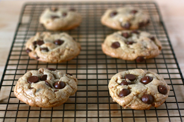 Chewy-crisp cookies with toffee bits and dark chocolate